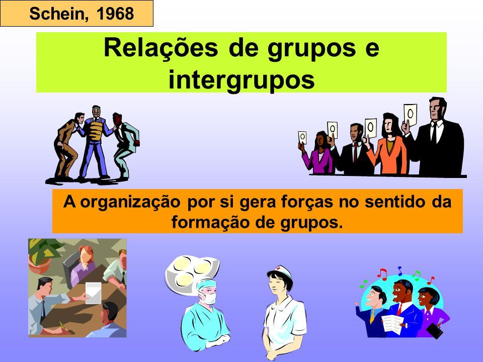 Relações de grupos e intergrupos Schein, 1968 A organização por si gera forças no sentido da formação de grupos.