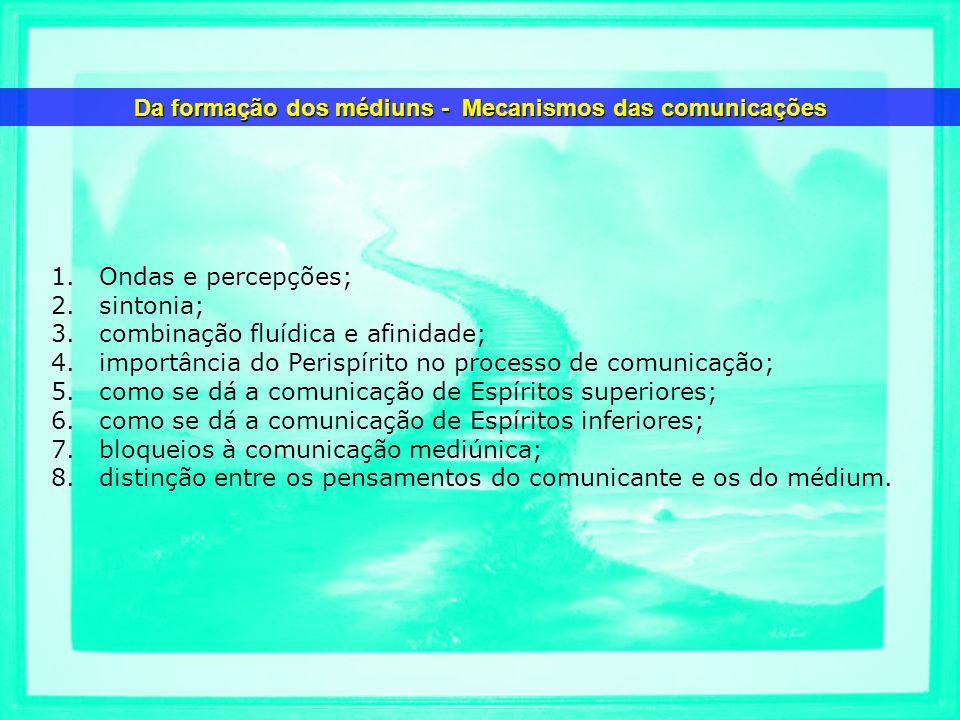 1.Ondas e percepções; 2.sintonia; 3.combinação fluídica e afinidade; 4.importância do Perispírito no processo de comunicação; 5.como se dá a comunicaç