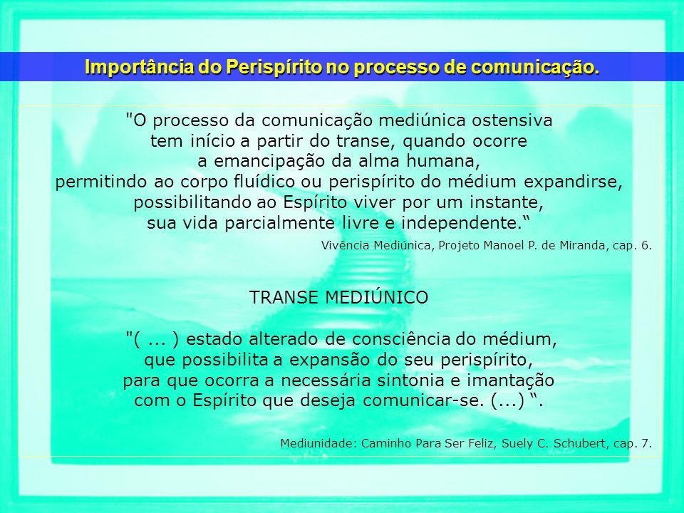 O processo da comunicação mediúnica ostensiva tem início a partir do transe, quando ocorre a emancipação da alma humana, permitindo ao corpo fluídico ou perispírito do médium expandirse, possibilitando ao Espírito viver por um instante, sua vida parcialmente livre e independente.