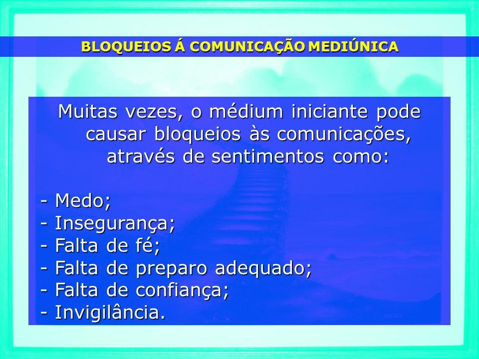 BLOQUEIOS Á COMUNICAÇÃO MEDIÚNICA Muitas vezes, o médium iniciante pode causar bloqueios às comunicações, através de sentimentos como: - Medo; - Medo;