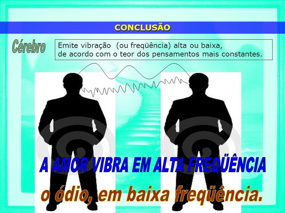 Emite vibração (ou freqüência) alta ou baixa, de acordo com o teor dos pensamentos mais constantes. CONCLUSÃO