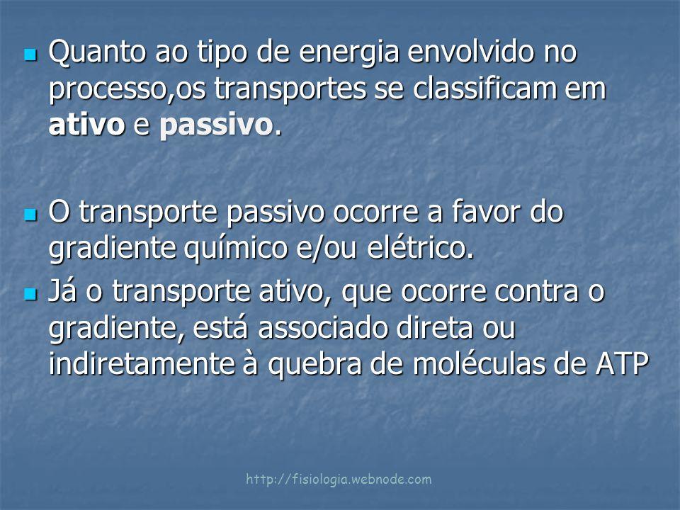 Quanto ao tipo de energia envolvido no processo,os transportes se classificam em ativo e passivo. Quanto ao tipo de energia envolvido no processo,os t