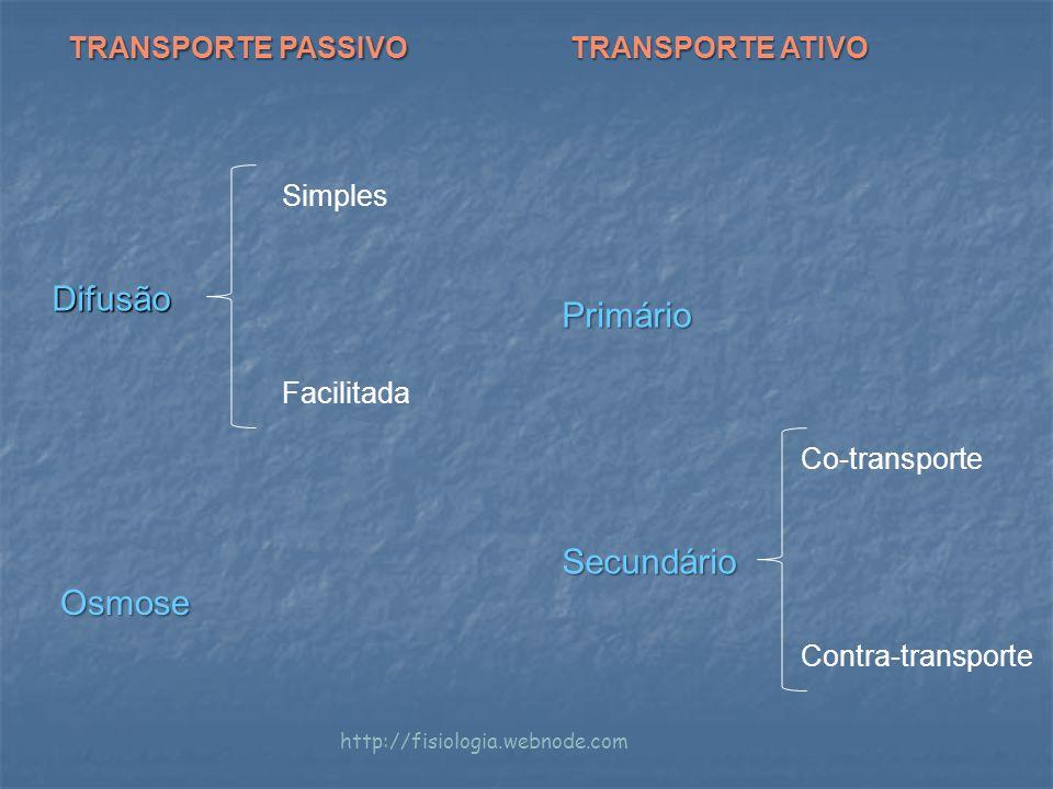 Difusão Simples Facilitada Osmose Primário Secundário Co-transporte Contra-transporte TRANSPORTE PASSIVO TRANSPORTE ATIVO http://fisiologia.webnode.com
