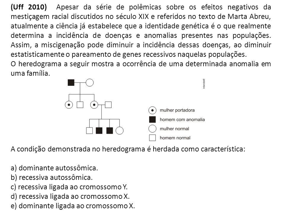 (Uff 2010) Apesar da série de polêmicas sobre os efeitos negativos da mestiçagem racial discutidos no século XIX e referidos no texto de Marta Abreu,