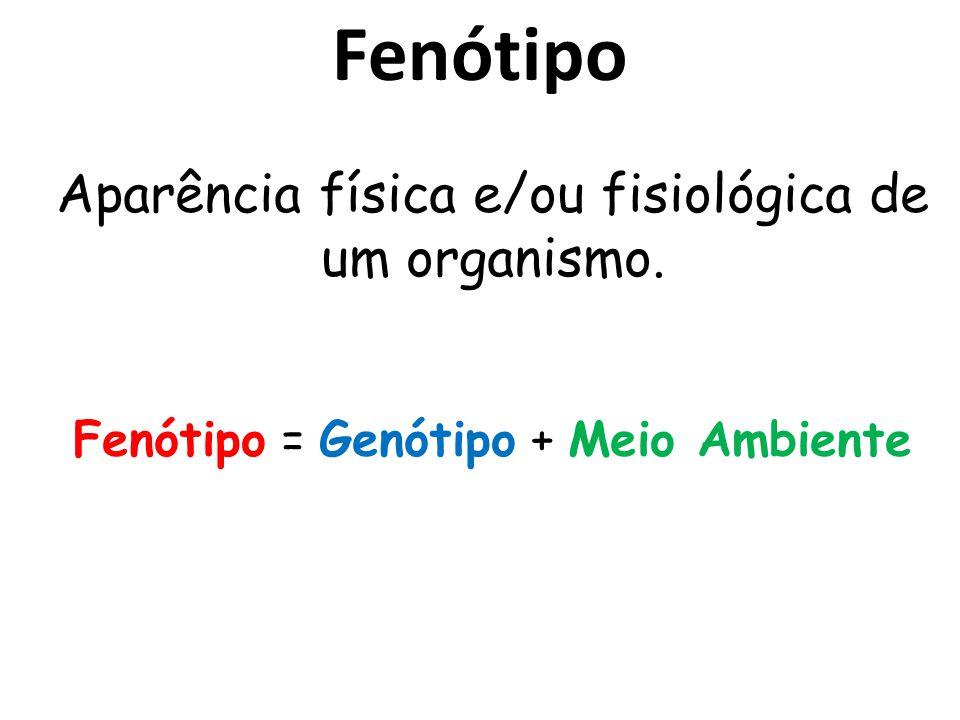 Fenótipo Aparência física e/ou fisiológica de um organismo. Fenótipo = Genótipo + Meio Ambiente