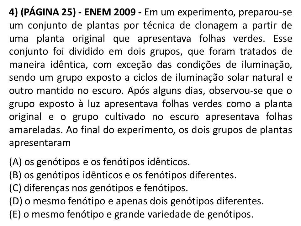 4) (PÁGINA 25) - ENEM 2009 - Em um experimento, preparou-se um conjunto de plantas por técnica de clonagem a partir de uma planta original que apresentava folhas verdes.