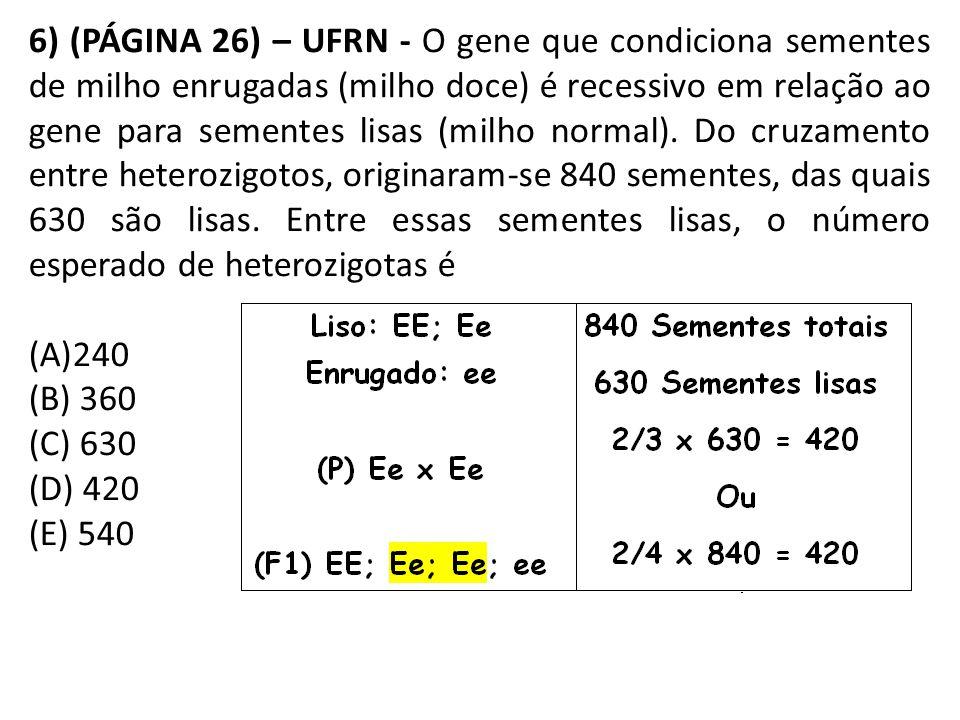 6) (PÁGINA 26) – UFRN - O gene que condiciona sementes de milho enrugadas (milho doce) é recessivo em relação ao gene para sementes lisas (milho normal).