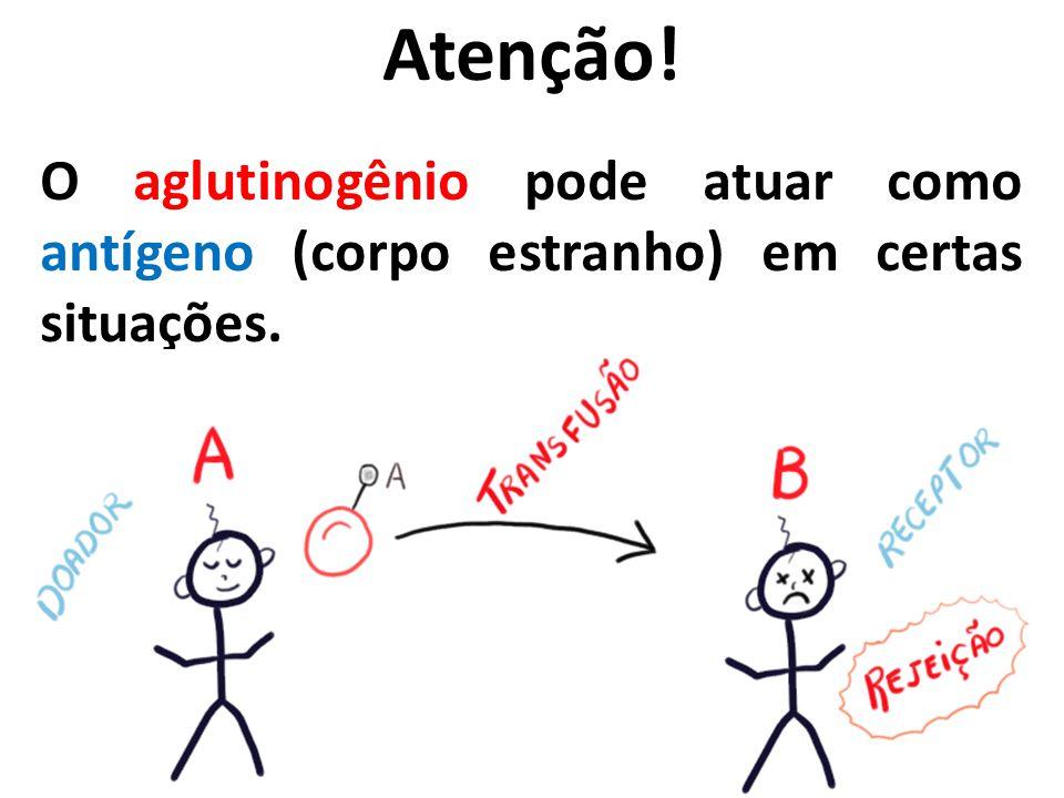 Atenção! O aglutinogênio pode atuar como antígeno (corpo estranho) em certas situações.