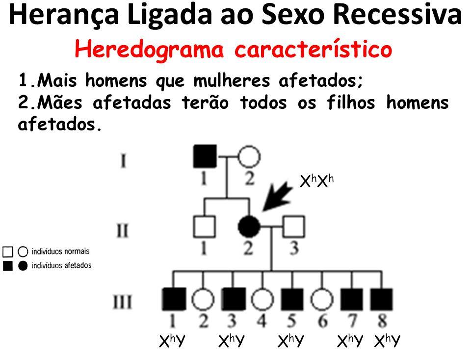 Herança Ligada ao Sexo Recessiva Heredograma característico 1.Mais homens que mulheres afetados; 2.Mães afetadas terão todos os filhos homens afetados.