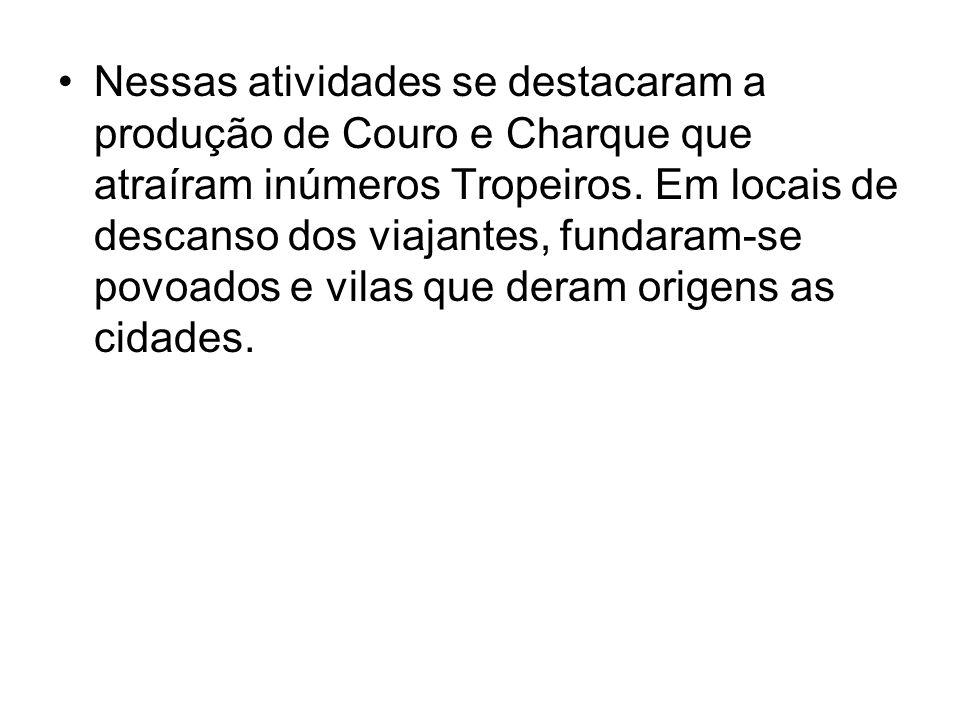 Nessas atividades se destacaram a produção de Couro e Charque que atraíram inúmeros Tropeiros. Em locais de descanso dos viajantes, fundaram-se povoad