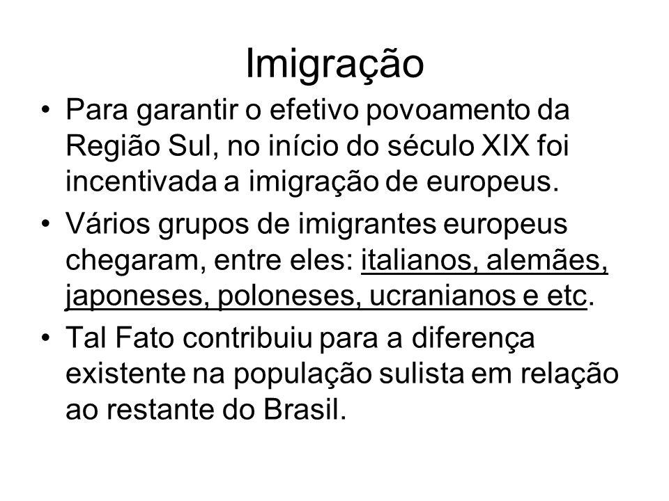 Imigração Para garantir o efetivo povoamento da Região Sul, no início do século XIX foi incentivada a imigração de europeus. Vários grupos de imigrant