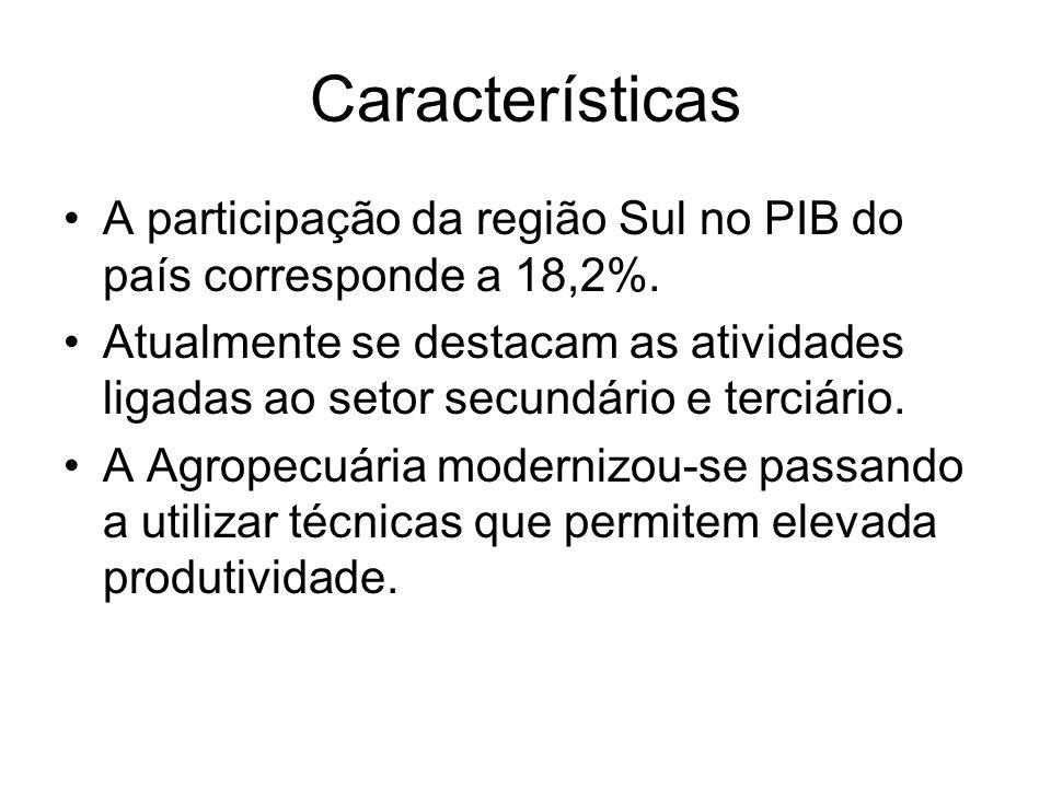 Características A participação da região Sul no PIB do país corresponde a 18,2%. Atualmente se destacam as atividades ligadas ao setor secundário e te