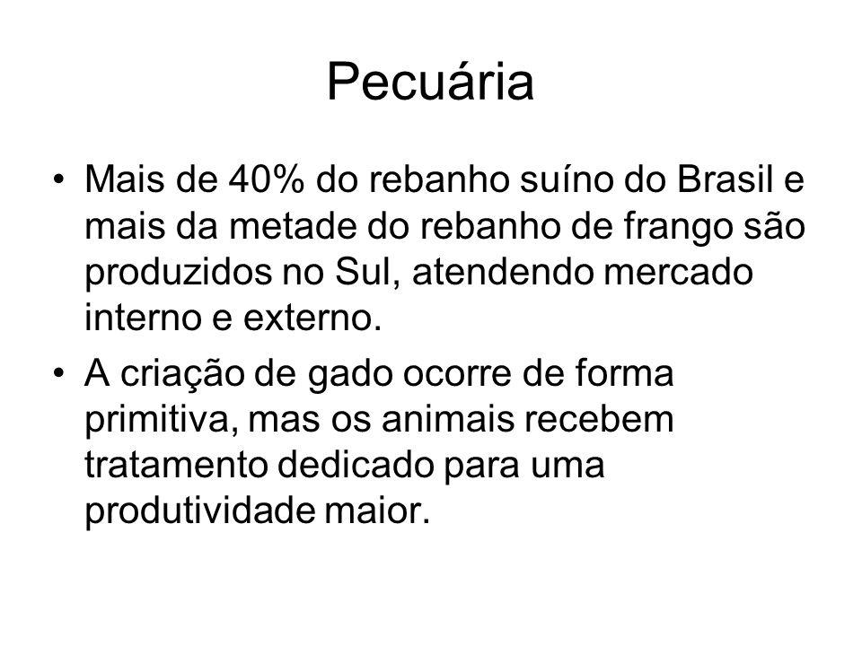 Pecuária Mais de 40% do rebanho suíno do Brasil e mais da metade do rebanho de frango são produzidos no Sul, atendendo mercado interno e externo. A cr