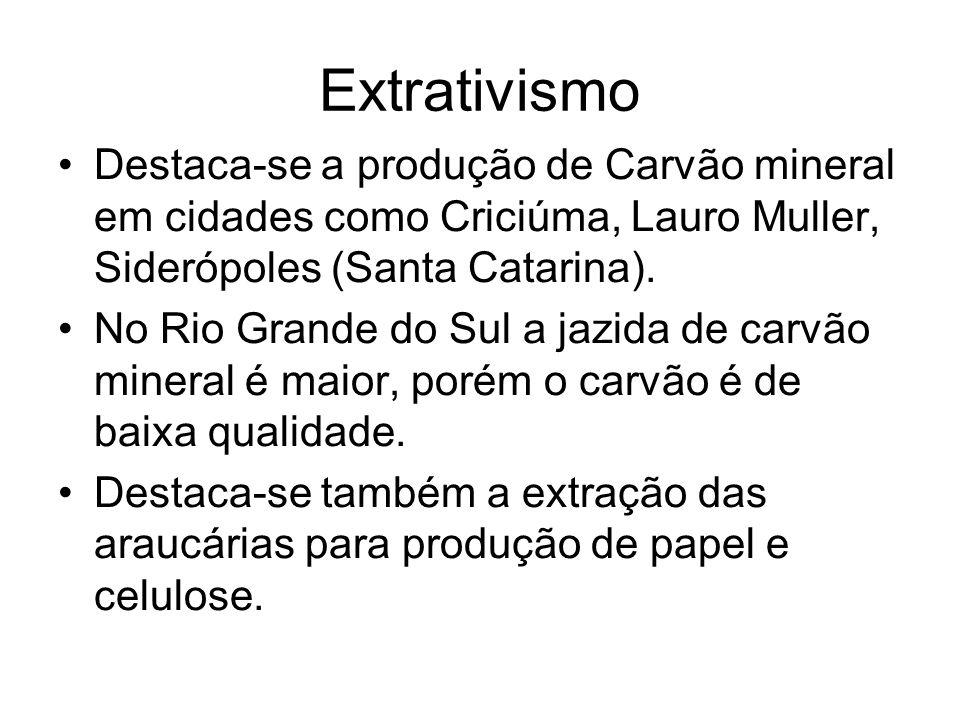 Extrativismo Destaca-se a produção de Carvão mineral em cidades como Criciúma, Lauro Muller, Siderópoles (Santa Catarina). No Rio Grande do Sul a jazi