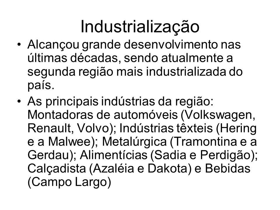 Industrialização Alcançou grande desenvolvimento nas últimas décadas, sendo atualmente a segunda região mais industrializada do país. As principais in