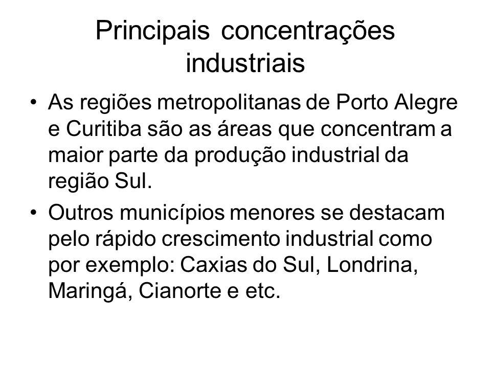 Principais concentrações industriais As regiões metropolitanas de Porto Alegre e Curitiba são as áreas que concentram a maior parte da produção indust