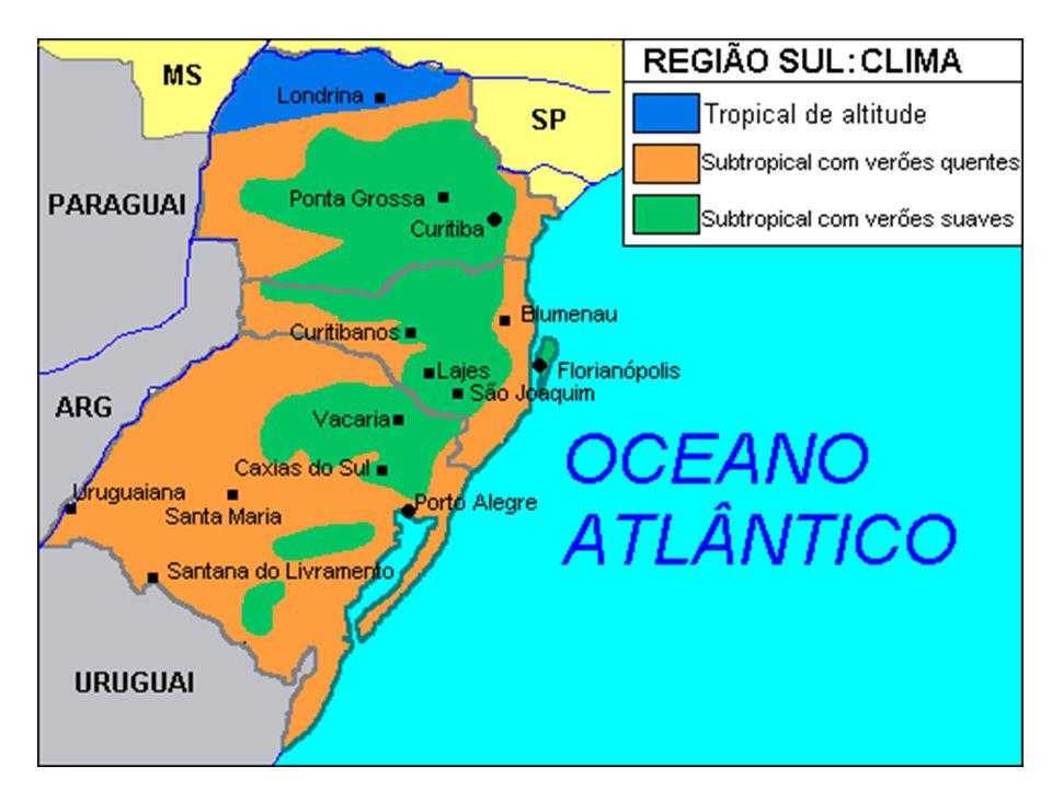 Vegetação Predominam as Matas de araucárias ou Mata de pinhais (Paraná e Santa Catarina), além dos campos gaúchos (Rio Grande do Sul e vestígios de Mata atlântica (No litoral, na Serra do Mar).