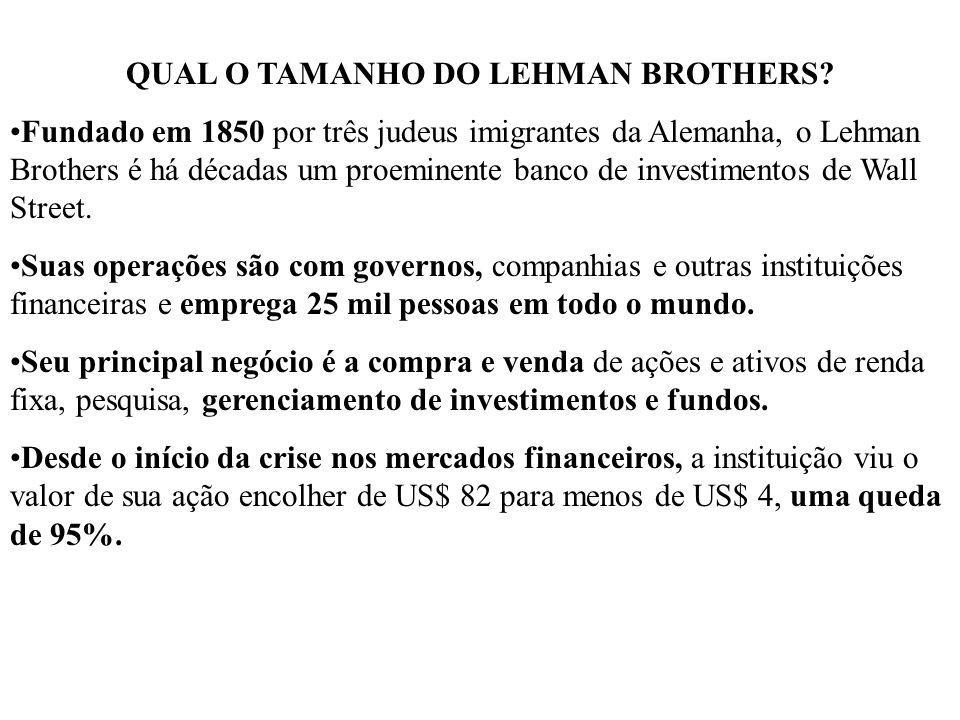 QUAL O TAMANHO DO LEHMAN BROTHERS? Fundado em 1850 por três judeus imigrantes da Alemanha, o Lehman Brothers é há décadas um proeminente banco de inve