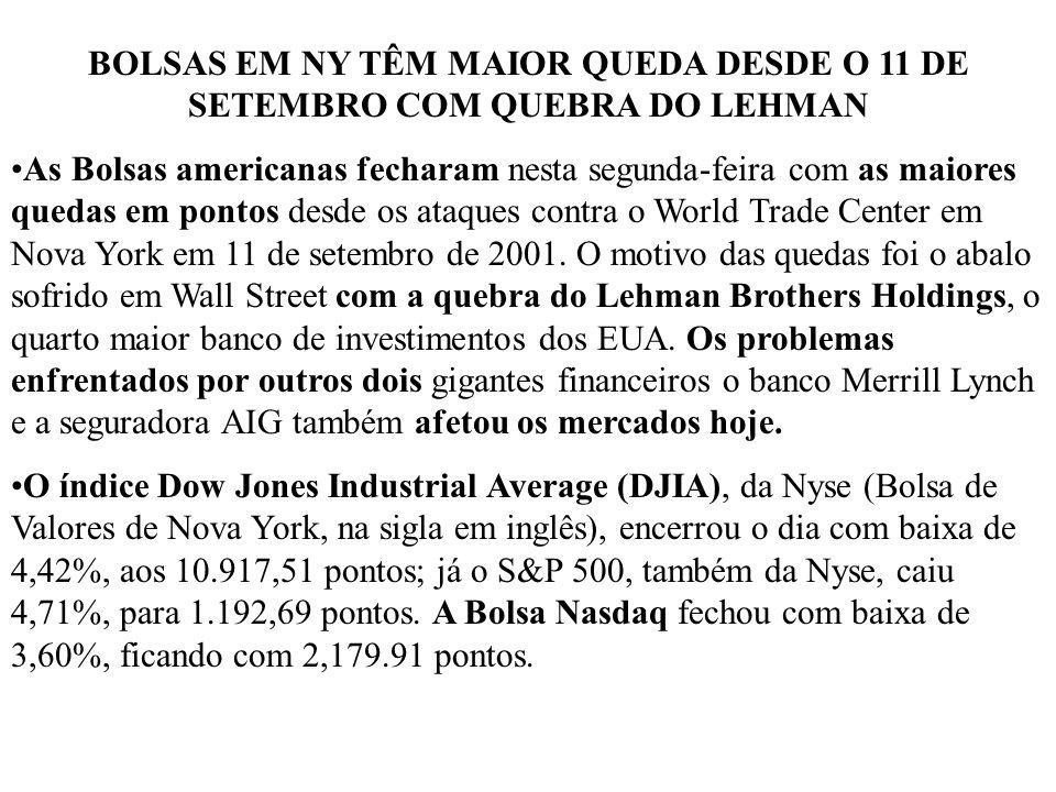 BOLSAS EM NY TÊM MAIOR QUEDA DESDE O 11 DE SETEMBRO COM QUEBRA DO LEHMAN As Bolsas americanas fecharam nesta segunda-feira com as maiores quedas em po
