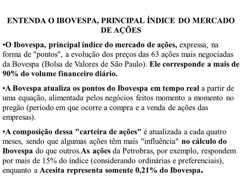 ENTENDA O IBOVESPA, PRINCIPAL ÍNDICE DO MERCADO DE AÇÕES O Ibovespa, principal índice do mercado de ações, expressa, na forma de