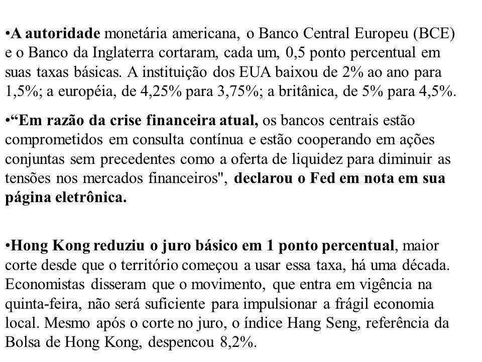 A autoridade monetária americana, o Banco Central Europeu (BCE) e o Banco da Inglaterra cortaram, cada um, 0,5 ponto percentual em suas taxas básicas.