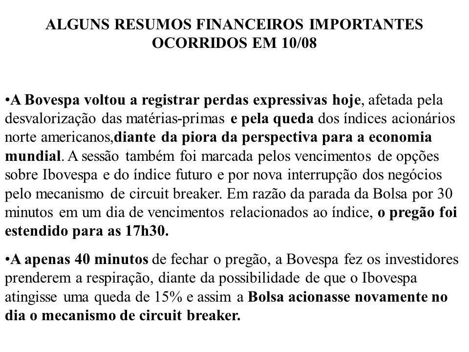 ALGUNS RESUMOS FINANCEIROS IMPORTANTES OCORRIDOS EM 10/08 A Bovespa voltou a registrar perdas expressivas hoje, afetada pela desvalorização das matéri