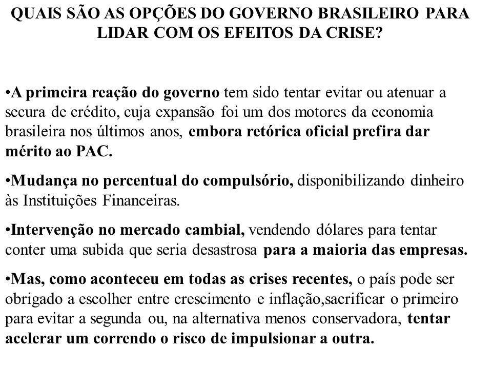 QUAIS SÃO AS OPÇÕES DO GOVERNO BRASILEIRO PARA LIDAR COM OS EFEITOS DA CRISE? A primeira reação do governo tem sido tentar evitar ou atenuar a secura