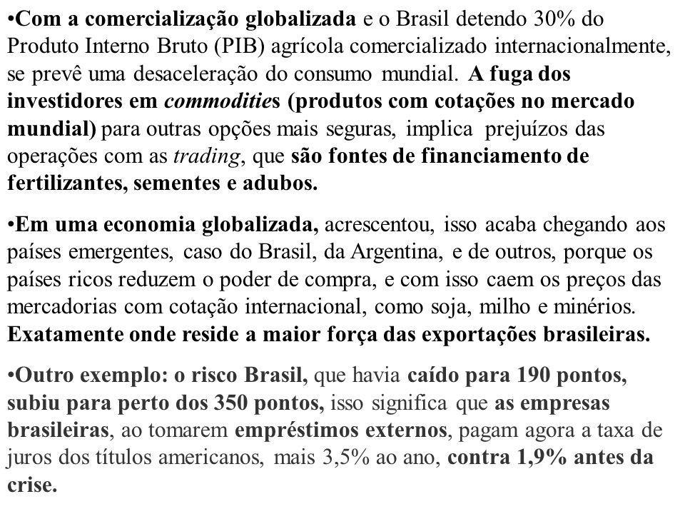 Com a comercialização globalizada e o Brasil detendo 30% do Produto Interno Bruto (PIB) agrícola comercializado internacionalmente, se prevê uma desac