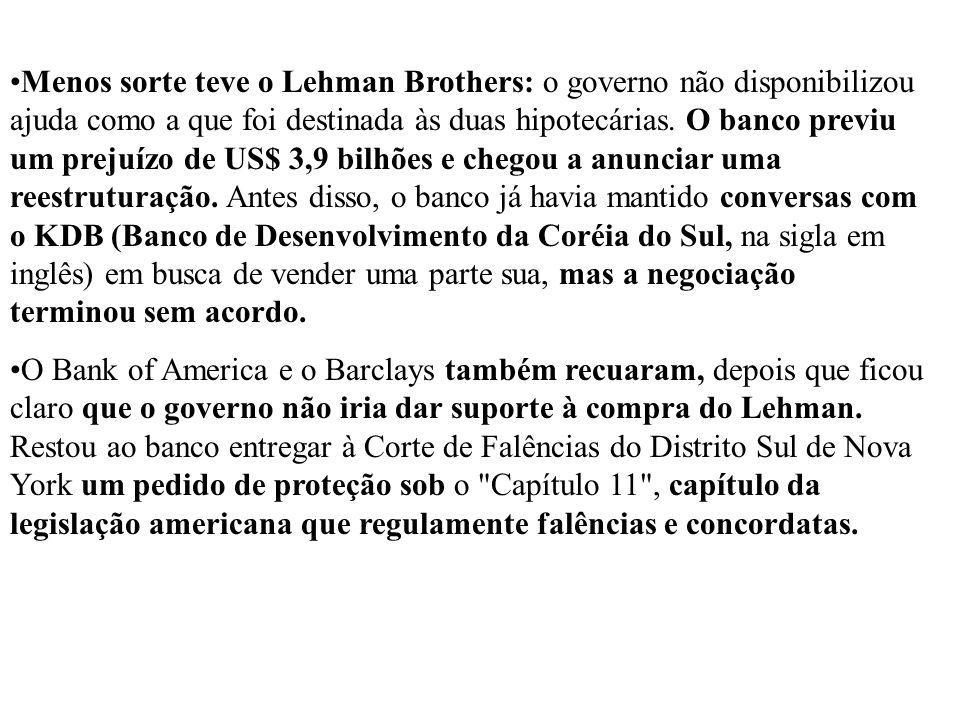 Menos sorte teve o Lehman Brothers: o governo não disponibilizou ajuda como a que foi destinada às duas hipotecárias. O banco previu um prejuízo de US