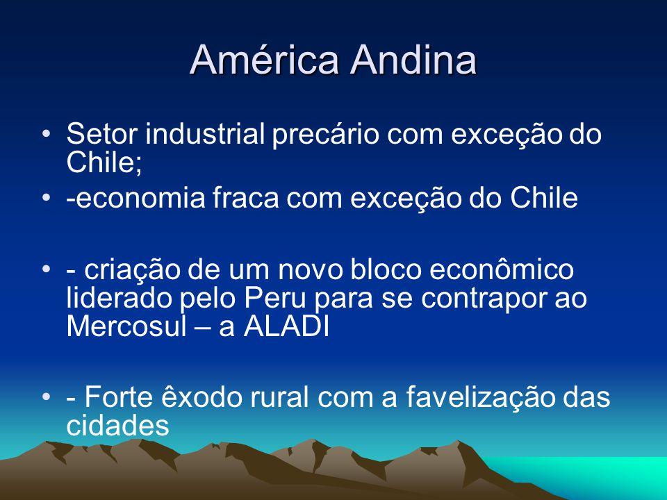 América Andina Setor industrial precário com exceção do Chile; -economia fraca com exceção do Chile - criação de um novo bloco econômico liderado pelo