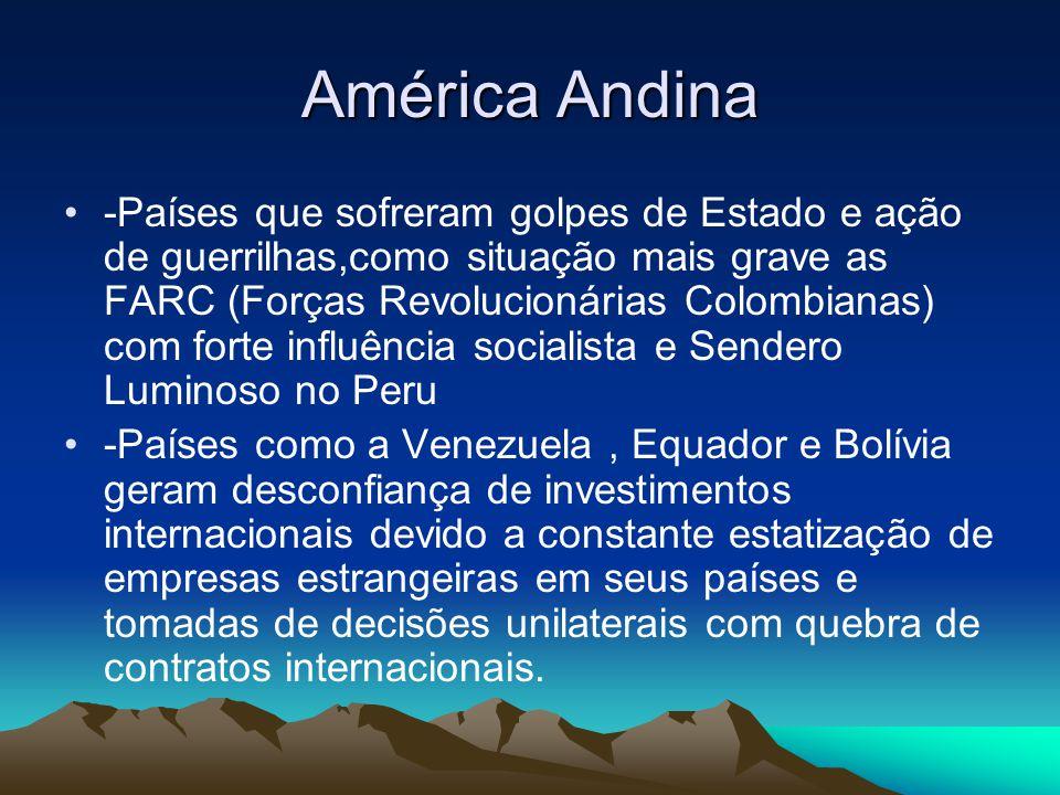 América Andina -Países que sofreram golpes de Estado e ação de guerrilhas,como situação mais grave as FARC (Forças Revolucionárias Colombianas) com fo