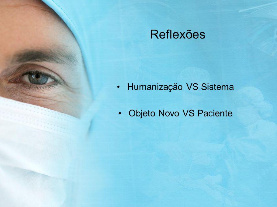 Humanização VS Sistema Objeto Novo VS Paciente Reflexões