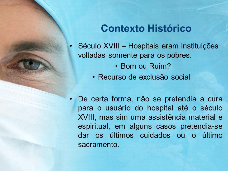 Contexto Histórico Século XVIII – Hospitais eram instituições voltadas somente para os pobres. Bom ou Ruim? Recurso de exclusão social De certa forma,