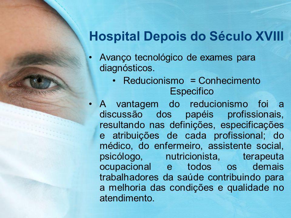 Hospital Depois do Século XVIII Avanço tecnológico de exames para diagnósticos. Reducionismo = Conhecimento Especifico A vantagem do reducionismo foi