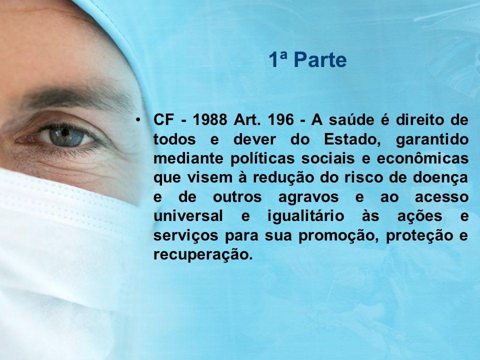 1ª Parte CF - 1988 Art. 196 - A saúde é direito de todos e dever do Estado, garantido mediante políticas sociais e econômicas que visem à redução do r