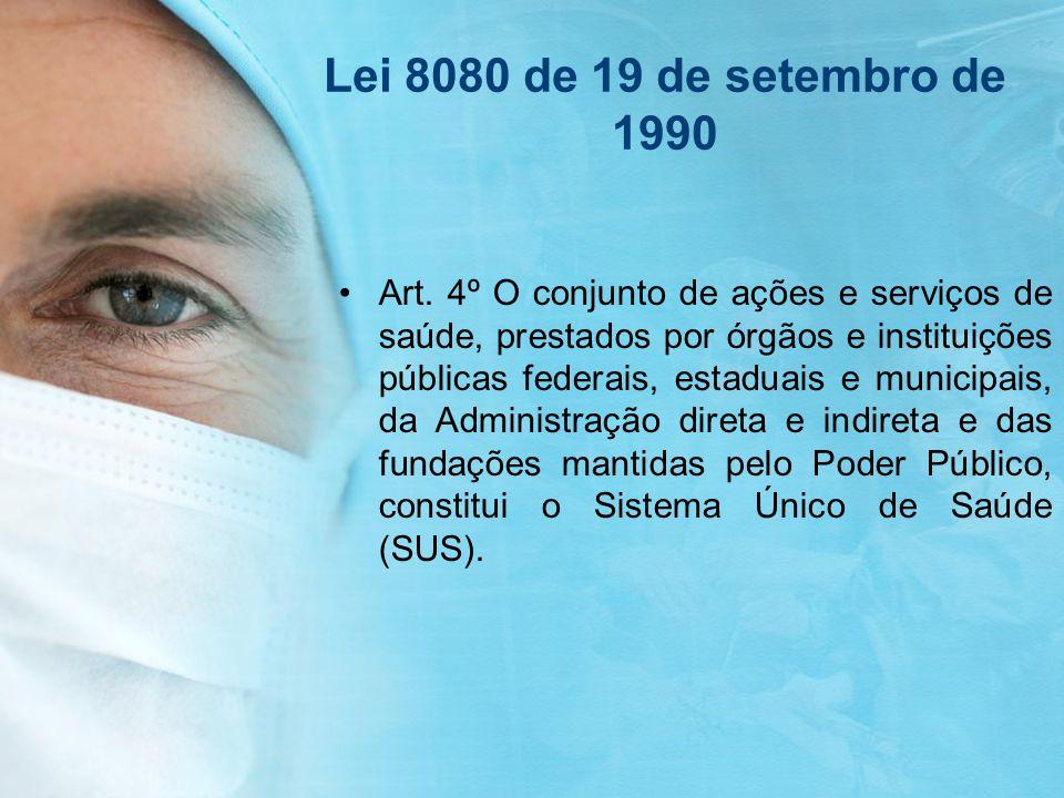 Lei 8080 de 19 de setembro de 1990 Art. 4º O conjunto de ações e serviços de saúde, prestados por órgãos e instituições públicas federais, estaduais e