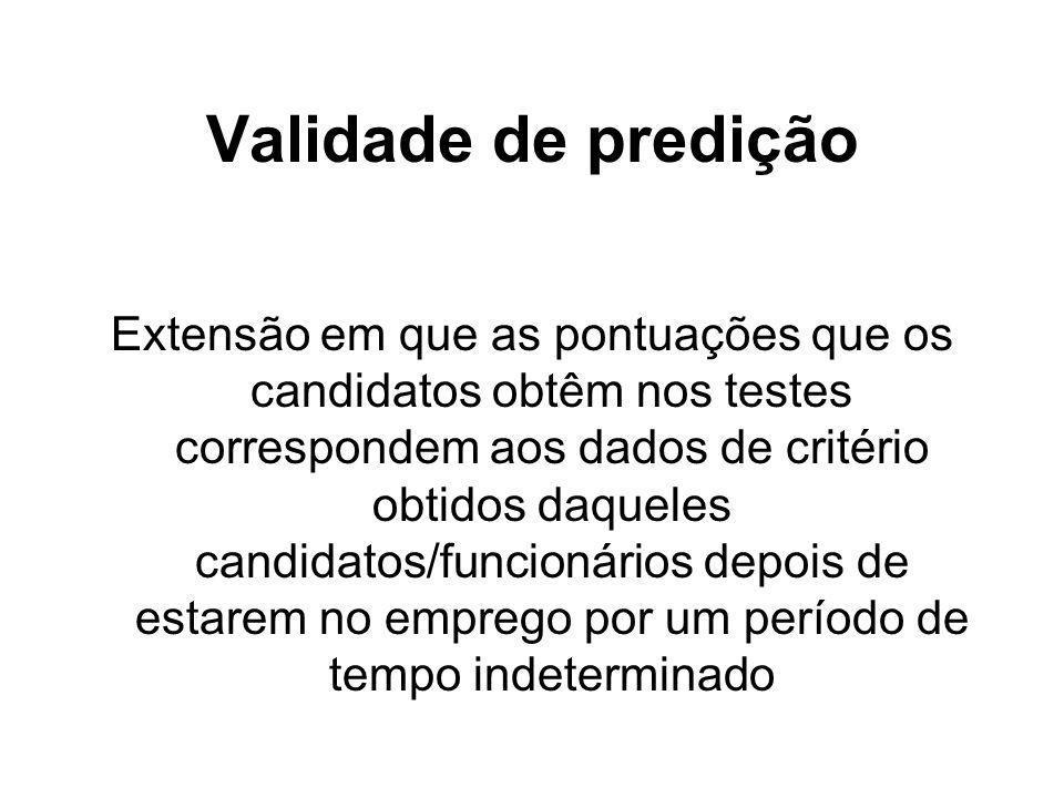 5-10 Validade de predição Extensão em que as pontuações que os candidatos obtêm nos testes correspondem aos dados de critério obtidos daqueles candida