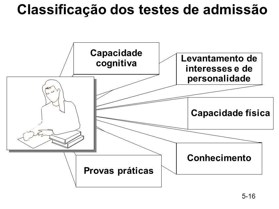 5-16 Classificação dos testes de admissão Conhecimento Levantamento de interesses e de personalidade Capacidade física Capacidade cognitiva Provas prá