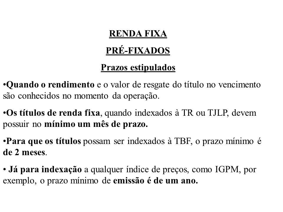 RENDA FIXA PRÉ-FIXADOS Prazos estipulados Quando o rendimento e o valor de resgate do título no vencimento são conhecidos no momento da operação.