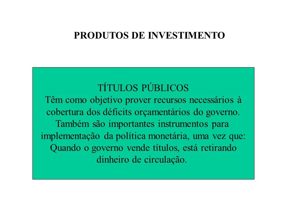 PRODUTOS DE INVESTIMENTO TÍTULOS PÚBLICOS Têm como objetivo prover recursos necessários à cobertura dos déficits orçamentários do governo.