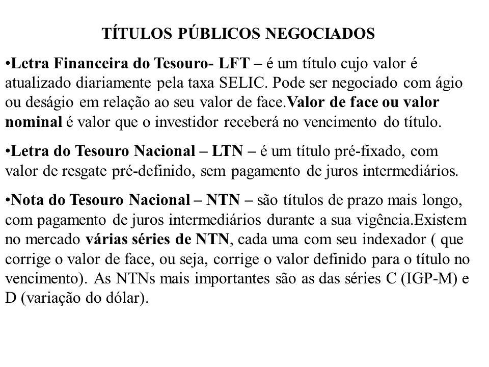 TÍTULOS PÚBLICOS NEGOCIADOS Letra Financeira do Tesouro- LFT – é um título cujo valor é atualizado diariamente pela taxa SELIC.
