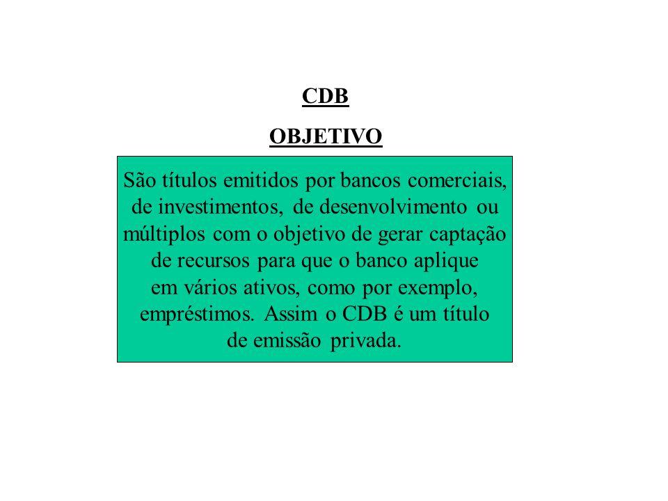 CDB OBJETIVO Certificado de Depósito Bancário São títulos emitidos por bancos comerciais, de investimentos, de desenvolvimento ou múltiplos com o objetivo de gerar captação de recursos para que o banco aplique em vários ativos, como por exemplo, empréstimos.