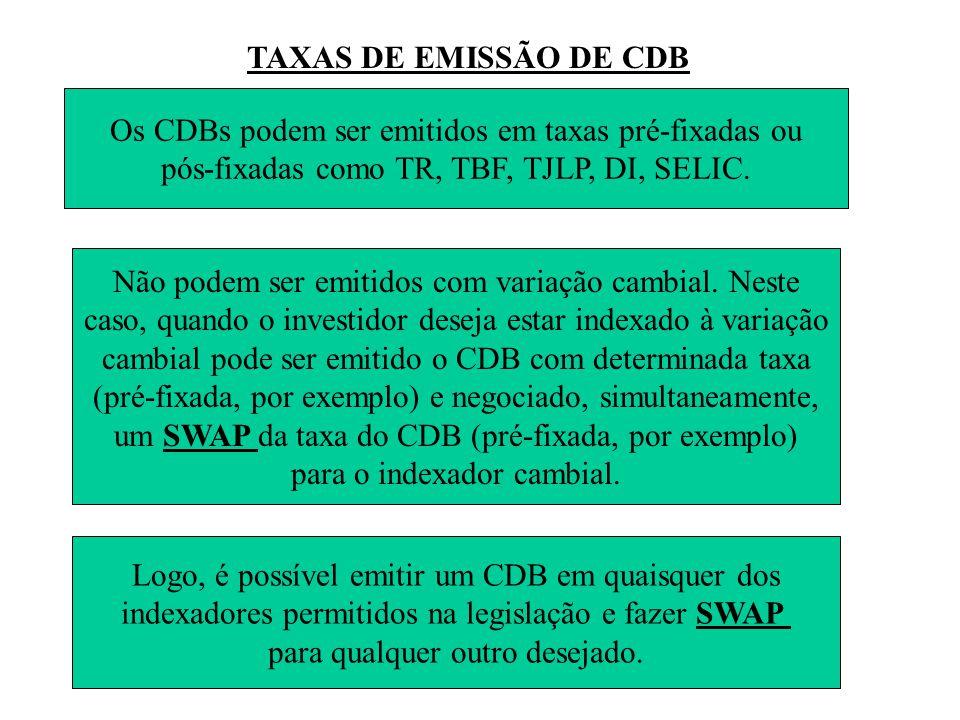TAXAS DE EMISSÃO DE CDB Os CDBs podem ser emitidos em taxas pré-fixadas ou pós-fixadas como TR, TBF, TJLP, DI, SELIC.