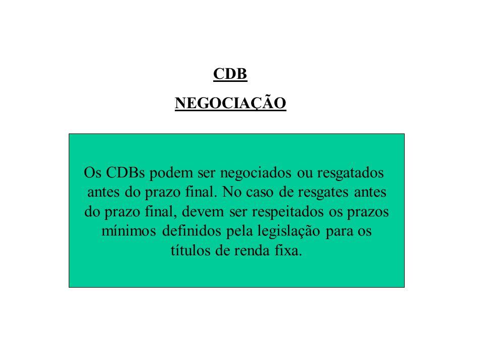 CDB NEGOCIAÇÃO Os CDBs podem ser negociados ou resgatados antes do prazo final.