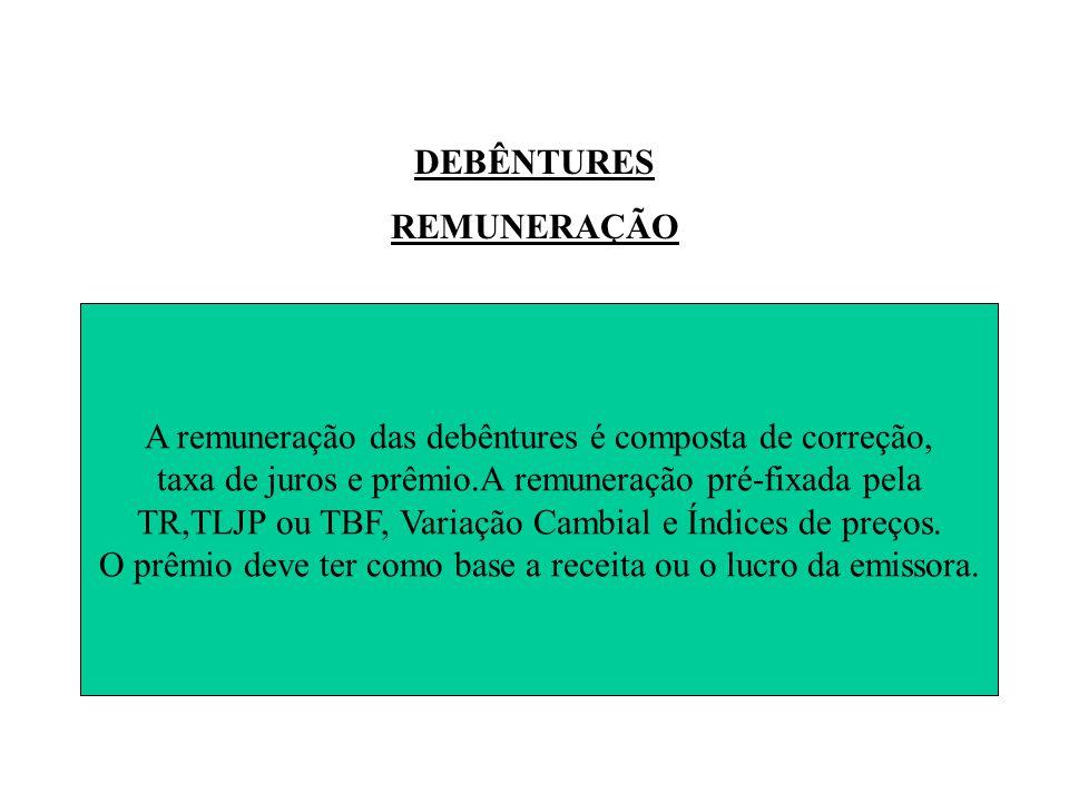 DEBÊNTURES REMUNERAÇÃO A remuneração das debêntures é composta de correção, taxa de juros e prêmio.A remuneração pré-fixada pela TR,TLJP ou TBF, Variação Cambial e Índices de preços.