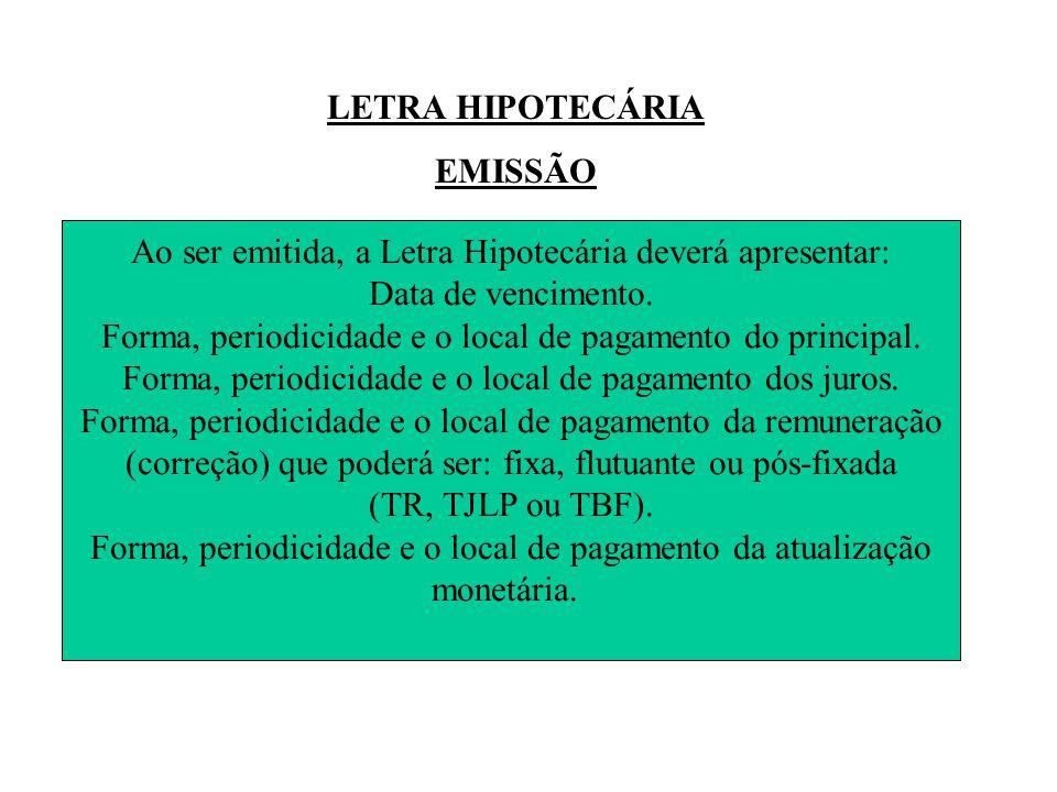 LETRA HIPOTECÁRIA EMISSÃO Ao ser emitida, a Letra Hipotecária deverá apresentar: Data de vencimento.