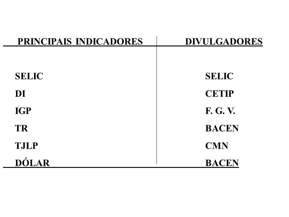 PRINCIPAIS INDICADORES DIVULGADORES SELICSELIC DI CETIP IGPF. G. V. TR BACEN TJLPCMN DÓLAR BACEN