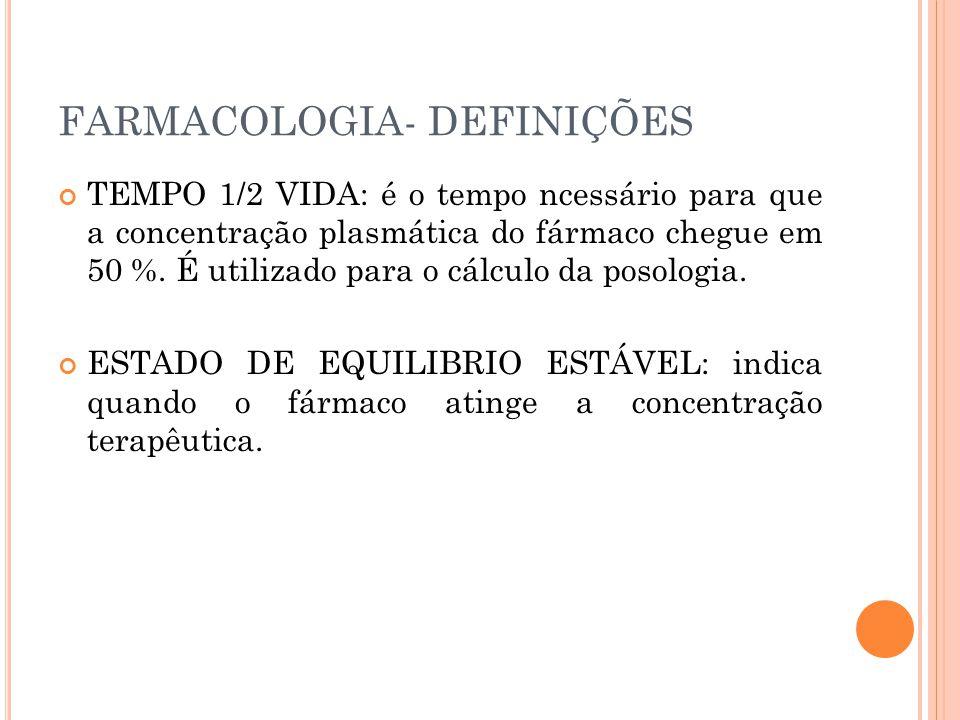 FARMACOLOGIA- DEFINIÇÕES TEMPO 1/2 VIDA: é o tempo ncessário para que a concentração plasmática do fármaco chegue em 50 %. É utilizado para o cálculo