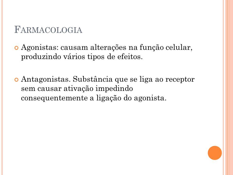 F ARMACOLOGIA Agonistas: causam alterações na função celular, produzindo vários tipos de efeitos. Antagonistas. Substância que se liga ao receptor sem