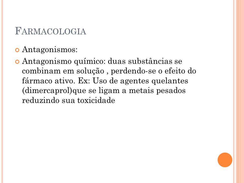 F ARMACOLOGIA Antagonismos: Antagonismo químico: duas substâncias se combinam em solução, perdendo-se o efeito do fármaco ativo. Ex: Uso de agentes qu